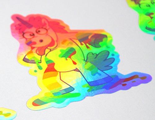 #27 Einhorn Regenbogen Hologramm Aufkleber 8x10cm von Finest-Folia -