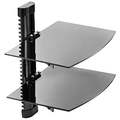 Mount Factory Halterung Factory-Verstellbare Wandhalterung/Floating Glas AV-DVD Komponenten Regal-Schwarz, Schwarz, 2 Ablagefächer