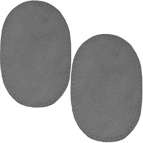 alles-meine.de GmbH 2 STK. Wildleder - echtes Leder - Flicken - dunkel grau - 10 cm * 15,5 cm - oval - Aufnäher zum Aufnähen / Applikation XL Format - Deko Flicken / Lederflicken - Dunkel Grau Leder