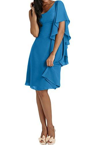 Gorgeous Bride Elegant Ein Arm A-Linie Chiffon Knielang Damen Cocktailkleid Partykleid Festkleid Blau