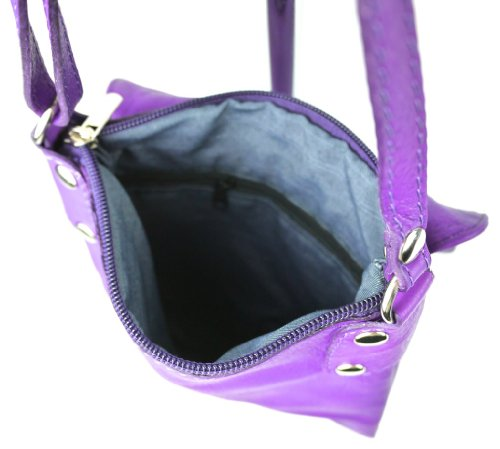 Vera Pelle Italiana Piccolo Croce Corpo Borsa a tracolla o borsa a tracolla Purple