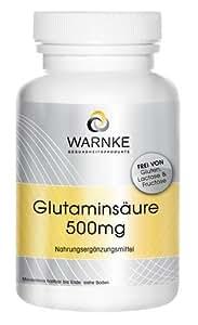 Warnke produits de santé 500mg d'acide glutamique (250 capsules), 1er Pack (1 x 145g)