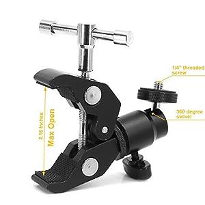 Standard-Super-Clamp-w1102-cm-20-und-3203-cm-16-Gewinde-fr-Kameras-Lampen-Schirme-Haken-Regale-Teller-Glas-Kreuz-Bars-Foto-Zubehr-und-mehr-Aktualisiert