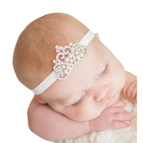 Stirnbänder, GJKK Baby Mädchen Crown Haarband Prinzessin Kristall Perle Crown Stirnband Kopfband Perle Haar Zubehör Prinzessin Kronen Haar-Zusätz Birthday Crown Turban Verpackungs (Stirnbänder C, F) -