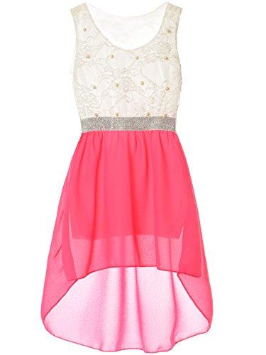 BEZLIT Mädchen Kinder Sommer-Kleid Spitze Glitzer Kurzarm Kunst-Perlen 22286 Neon-Pink Größe 164 (Hochzeit Kleid Neon Pink)