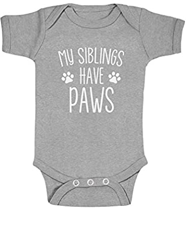 My Siblings Have Paws Funny Infant Baby Bodysuit 6M Gray