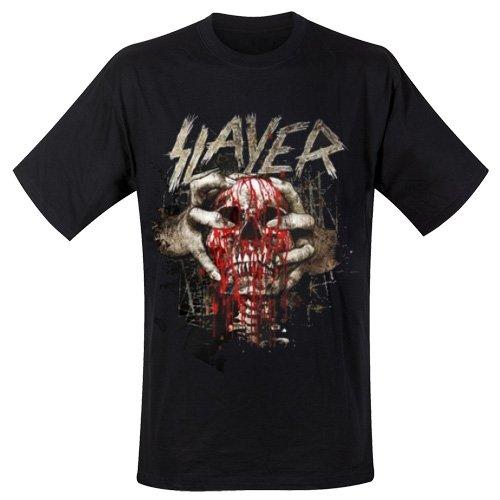 Slayer Herren, T-Shirt, Skull Clench Schwarz - Schwarz
