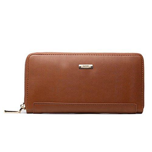 Jia Qing Dame Two Fold PU Leder Zipper Geldbörse Geldbörse,Brown-OneSize (Damen Two Fold Wallet)