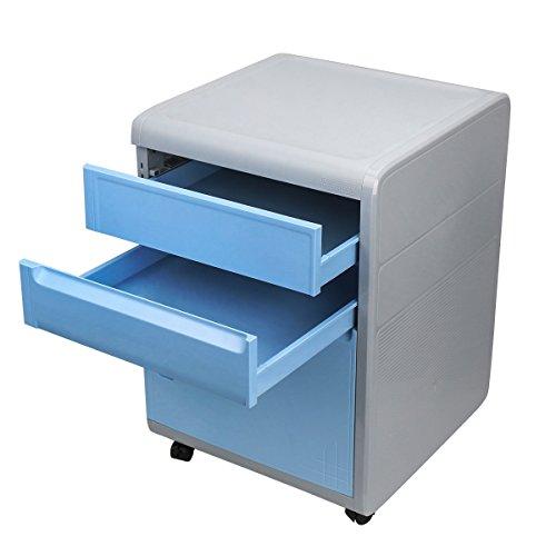 EVERTOP Büro Aktenschrank ABS Schreibtischcontainer Büro Schrank mit Schloss Kunststoff...