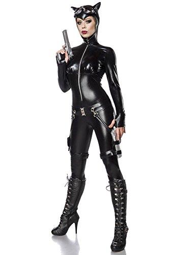 Sexy 6 tlg. Catwoman Kostüm Damenkostüm Katze Schwarz Anzug Overall Set (Anzug Katze Schwarze)