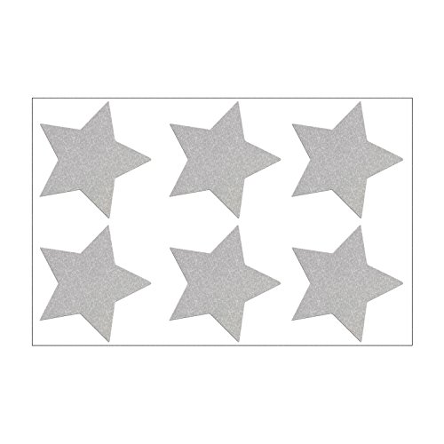 Reflektor Sterne Aufkleber Set, 6 reflektierende Sticker, je 4,5 x 4,5 cm, silberweiß (weiß-Reflex) -