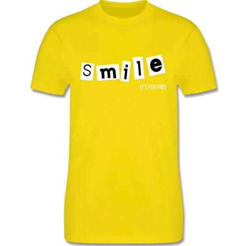 Statement Shirts - Smile it's for free - Herren Premium T-Shirt Lemon Gelb