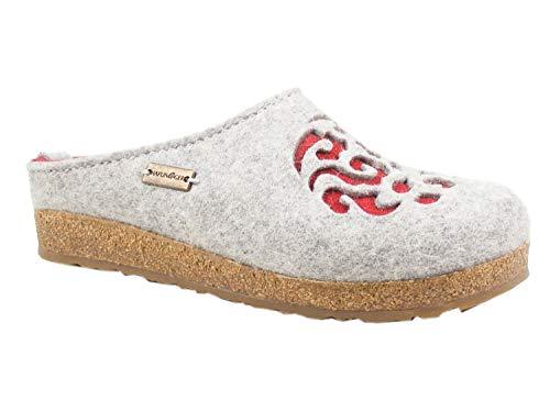 Haflinger 711057-3-84 Grizzly Dream Damen Hausschuhe Pantoffeln, Schuhgröße:40 EU, Farbe:Grau - 3 84