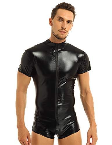 YiZYiF Herren Body Wetlook Dessous Schwarz Leder Optik Männerbody Bikini Slip Kurz-Body Overall Bodysuit mit Reißverschluss S-XXL Schwarz L (Damen Wrestling Kostüm)