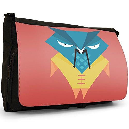 Fun Funky Awesome Wise, motivo: gufi, colore: nero, Borsa Messenger-Borsa a tracolla in tela, borsa per Laptop, scuola Chinese Samurai Warrior Owl
