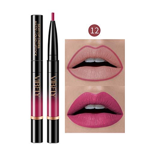 Jaerio Lipgloss, Lippenglasur, Lippenstift, Lip Liner, Double-end Lasting Lipliner Waterproof Lip...
