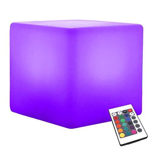 LED Leuchtwürfel Hocker 40 cm für Garten - Würfelleuchte Würfel Lampe Sitzwürfel Tisch mit Farbwechsel von PK Green