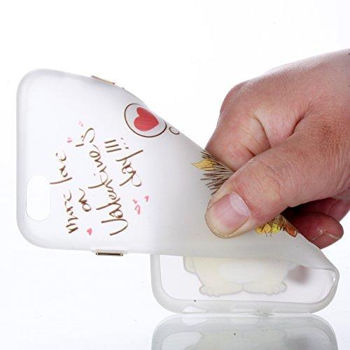 Voguecase Pour Apple iPhone 5 5G 5S SE, Noctilucent TPU avec Absorption de Choc, Etui Silicone Souple, Légère / Ajustement Parfait Coque Shell Housse Cover pour iPhone 5 5G 5S SE (Aquarelle chat)+ Gra hérisson