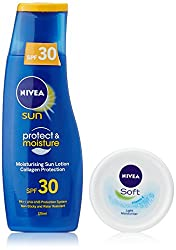 Nivea Sun Moisturising Lotion SPF 30, 125ml with Free Nivea Soft Light Moisturiser, 50ml