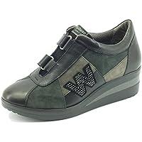Sneakers Melluso Walk per donna in pelle e nabuk nero doppio velcro