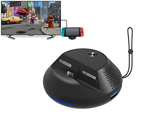 Travel TV Dock, HDMI Adapter für Nintendo Switch - PeakLead NS Docking Station, Ladestation Ständer, USB Type C Ladegerät Standfuß Charger mit 3 USB Port, HDMI 1080P Av Dock Station
