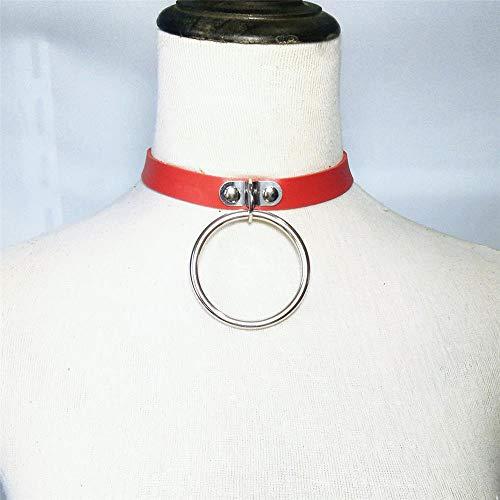 KINLANG Persönlichkeit Übergroßen Ring Retro Leder Halskette Punk-Stil Unisex PU-Kragen (Farbe : Red)