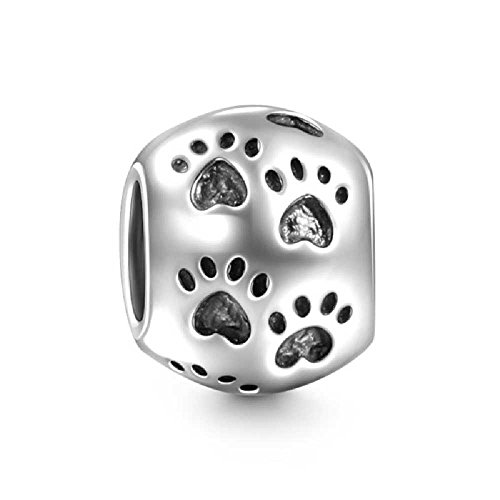 Soufeel Damen-Charm 925 Sterling Silver Beads Tatzen Hund Pfote Element Charms