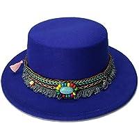 LQ-LIMAO Sombrero de Copa, - Pequeño Sombrero De Lana, Cuero Turquesa con Flecos Y Sombrero De Copa (54 Cm/Ajuste) (Color : Azul, tamaño : 52-54CM)