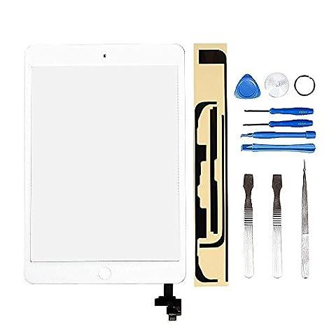 LL TRADER Blanc Kit de Remplacement d'écran Pour iPad mini 1 & 2 Écran tactile Numériseur Panneau Avant Vitre Réparation de lentille (inclus puce IC) avec Outils et Adhésif