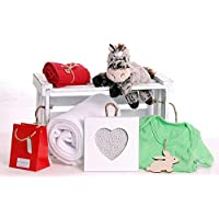 Preisvergleich für 'Happy Horse' - Large Luxury Baby Gift Hamper Box - FREE UK DELIVERY - Luxuriously soft white blanket - Plush soft horse toy - Shabby chic wooden photo frame - 100% cotton baby body suit - Essential Oil Gift for Mum. by Bright Spark Gifts