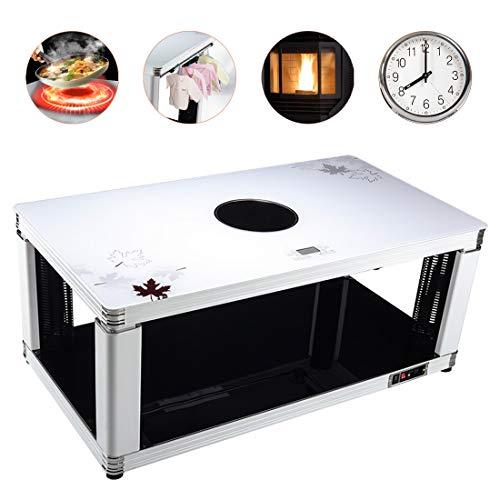 BLLJQ Elektrischer Heiztisch Kaffetisch, Fußwärmer, Heizgeräte, Elektroheizkörper, Elektrische Kamine, Desks Dining Tables, Large Appliances (Weißes Ahornblatt) -