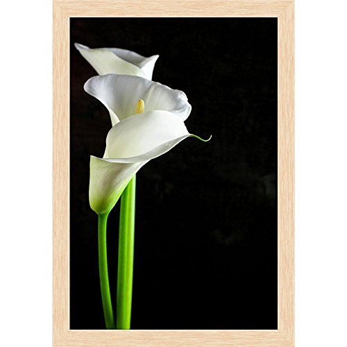 ArtzFolio Bouquet of Calla Lilies Canvas Painting Natural Brown Wood Frame 16 X 23.1Inch Bouquet Natural Wood
