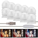 Fanmuran Luces de Espejo de Tocador LED Kit 10 Bombillas Regulables Luces Para Maquillaje Hollywood Espejo de...