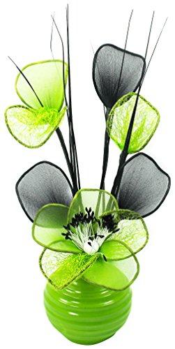 Flourish 813 - Jarrón con flores de malla (32 cm), color verde
