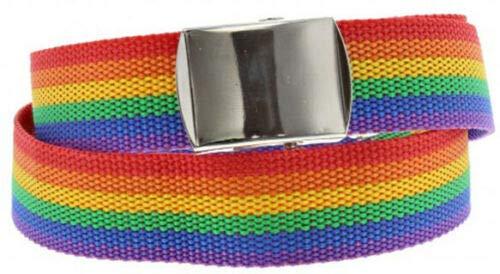 Unbekannt Gay Schwul Regenbogen CSD Pride LGBT Rainbow KOSTÜM Zubehör Armband SCHMUCK FLAGGEN HAARBÄNDER HOSENTRÄGER - vertrieb durch ABAV (1x Gürtel Streifen Regenbogen - Kostüm Armbänder Schmuck