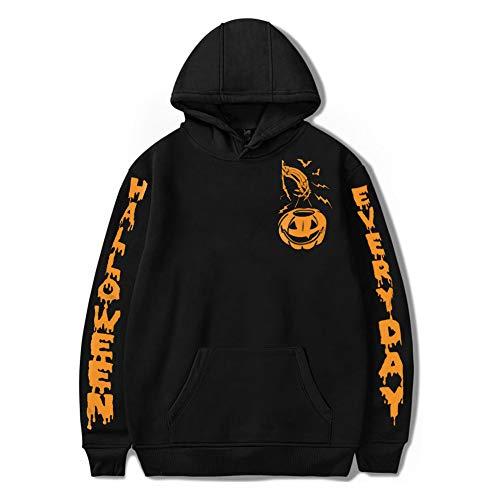 YUFAA Halloween Unisex Langarm lustige Kürbis Print Sweatshirts Pullover mit Kapuze