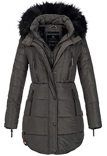 Marikoo warme Damen Winter Jacke Winterjacke Parka Stepp Mantel lang B401 (XL, Anthrazit)