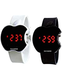 Blue Diamond Digital Boys' & Girls' Watch (Dial Black &White Colored Strap) (Pack of 2)