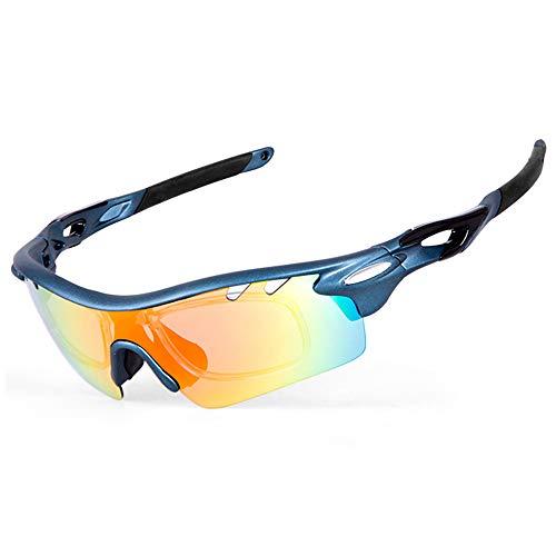 IKuaFly Sportsonnenbrille Sonnenbrille für Das Fahrradfahren TR90 Anti-Fog mit 5 Austauschbaren Brillengläsern UV400 per Uomo, Blau