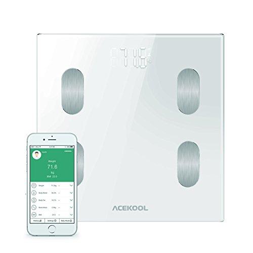 Acekool Bluetooth Body fat scale con iOS e Android App intelligente wireless digitale bilancia da bagno per peso, grasso corporeo, acqua, massa muscolare, BMI, BMR, massa ossea e Viscerale grasso, bianco