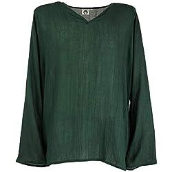 GURU-SHOP, Camisa de Yoga, Camisa Goa, Camisa de Ocio, Verde Abeto, Sintético, Tamaño:XXL, Camisas de Hombre