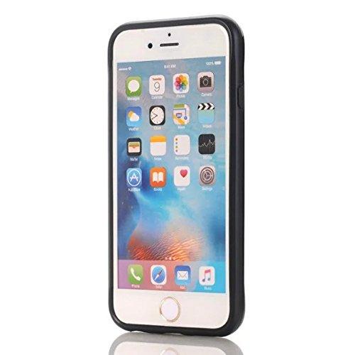 iPhone 7 Coque, Lantier cool Noir Métal brossé Design [Slim Fit] résistant aux chocs hybride double couche étui de protection Defender Armure pour Apple iPhone 7 (4,7 pouces) 2016 Argent Black