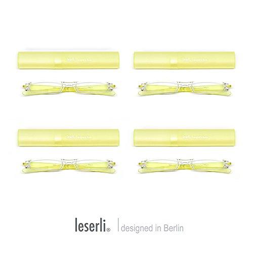 4er Set vier Stück einfarbig Kompakte leichte randlose Lesebrille Lesehilfe mit Etui aus vier wählbaren Farben von leserli ® Lesebrillen (1,5, Gelb)