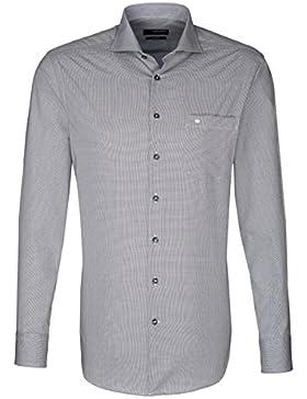 Seidensticker Herren Langarm Hemd Splendesto Regular Fit Hai-Kragen grau strukturiert 188737.32
