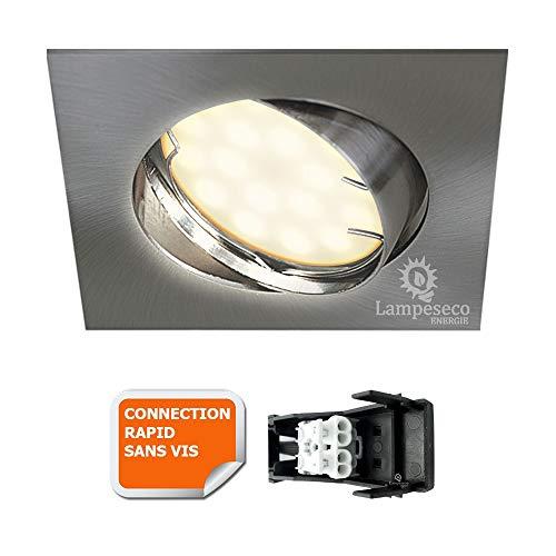 SPOT ENCASTRABLE ORIENTABLE LED CARRE ALU BROSSE GU10 230V eq. 50W BLANC CHAUD