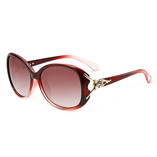 YJiaJu Erwachsene Sonnenbrille, hohe Qualität polarisierte Mode Fox Kopf Form UV400 übergroßen Kristallrahmen Sonnenbrille für Frauen (Color : 4)