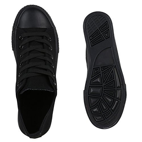 Sneakers Donna Sneakers Basse In Tela Denim Scarpe Fiori Mimetici Flandell Neri