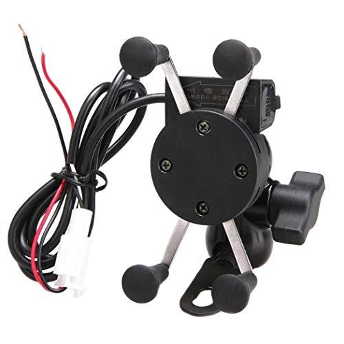 6SlonHyUniversal Handyhalter X-Grip Motorrad Handyhalter mit USB-Ladeanschluss - Schwarz -