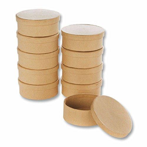 Creleo 790259 Papp-Boxen Oval Bastelboxen mit Deckel, 10 Stück, 9,5 x 7,5 x 4 cm