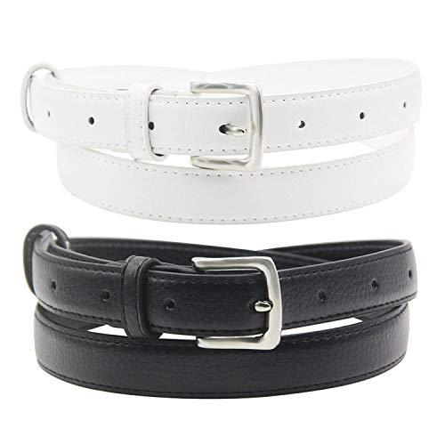 Maikun Cinturón de piel para mujer, con hebilla de color sólido, cinturones sencillos Blanco Negro + 100 cm Largo/cintura 81/86 cm